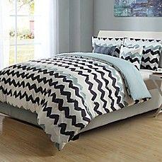 image of Paint Chevron Stripe Reversible Comforter Set
