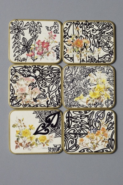 Tracey Tawhiao coasters, from Katie Lockhart's 'Everyday needs' (via Things I like, Things I love)