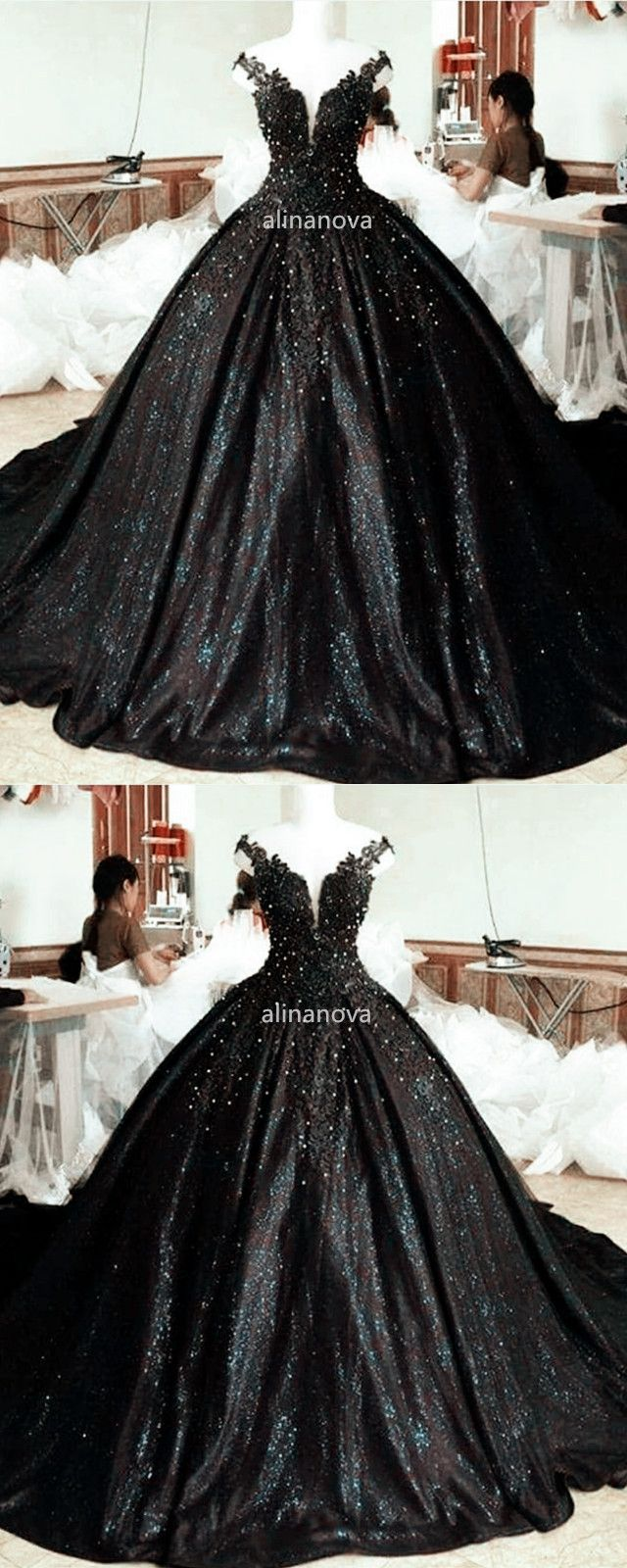 Lace Pearl Beaded V Neck Off Shoulder Ball Gowns Gowns Ball Gowns Black Ball Gown [ 1600 x 640 Pixel ]