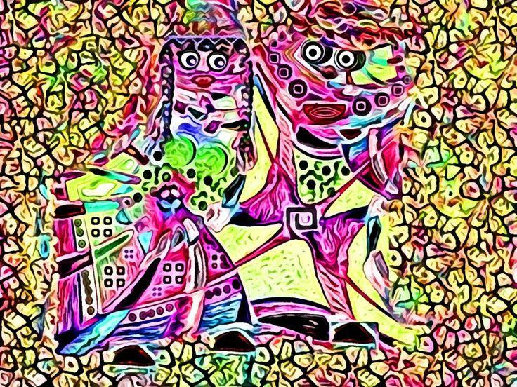 """""""#Cortejo cuquino"""" Curiosos #personajes de estilo #abstracto realizados con #gimp. Ver más en: www.librecreacion.net www.sirenasinmar.blogspot.com www.facebook.com/SugarherArts"""