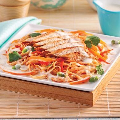 Escalopes de poulet, sauce au lait de coco et nouilles thaï - Recettes - Cuisine et nutrition - Pratico Pratiques