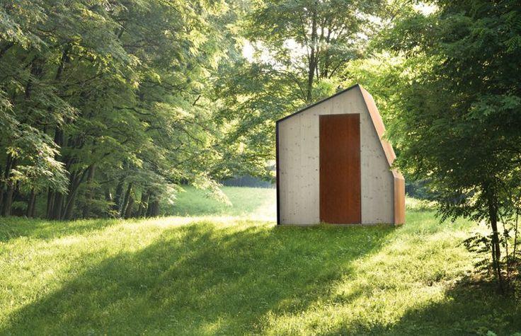 chalet de jardin habitable en bois massif et acier Corten - de Castelli, Italie