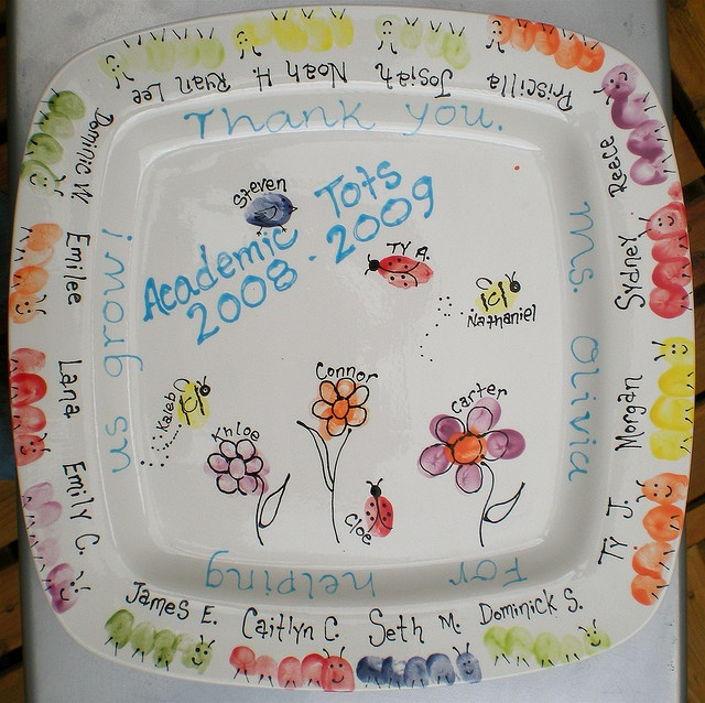 fingerprint plate: end of the year teacher gift, or grandparents