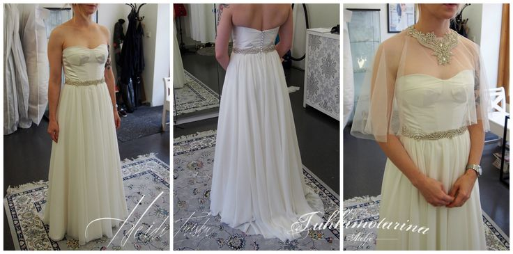 Chiffon corset style wedding dress with rhinestones dress by: Heidi Tuisku/Ateljé Tuhkimotarina