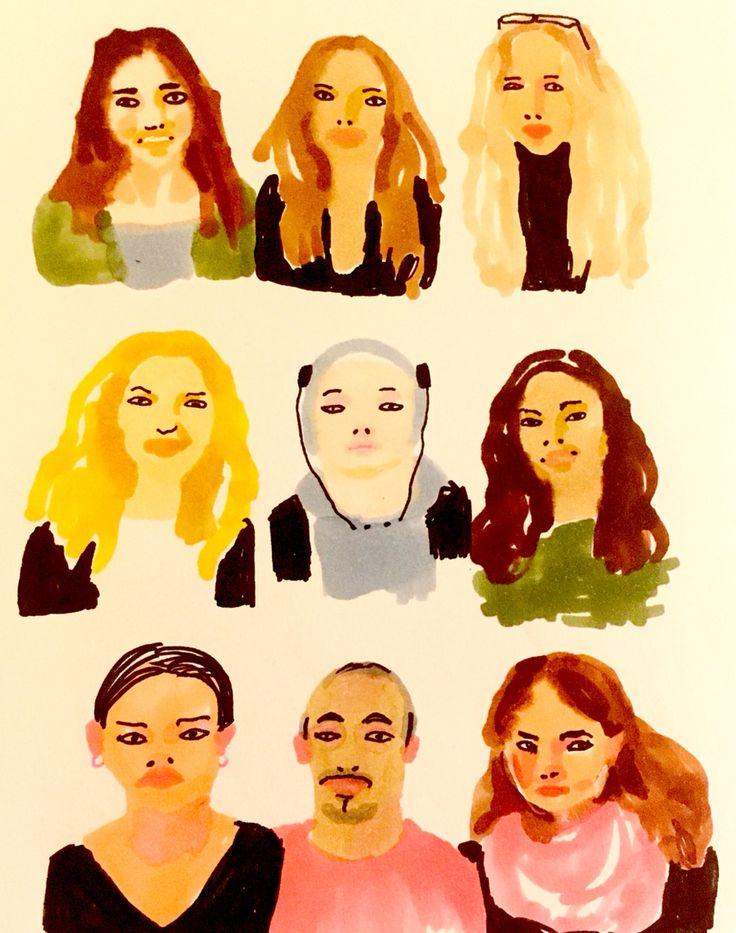 She and she and he... Hen och hen och hen... by Marie Åhfeldt, Mås Illustra. www.masillustra.se #portrait #illustration #masillustra #fashion