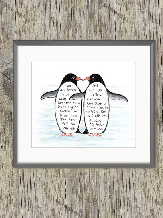 Pinguin Liebe Bibelvers Kunstdruck Schrift-Design