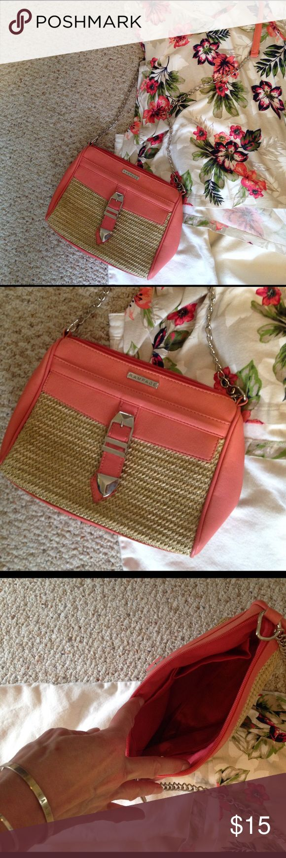 Rampage cross-body bag EUC beautiful coral and straw cross-body bag.  No marks, stains or other defects, perfect pinkish-peach color for your bright Spring wardrobe! Rampage Bags Shoulder Bags