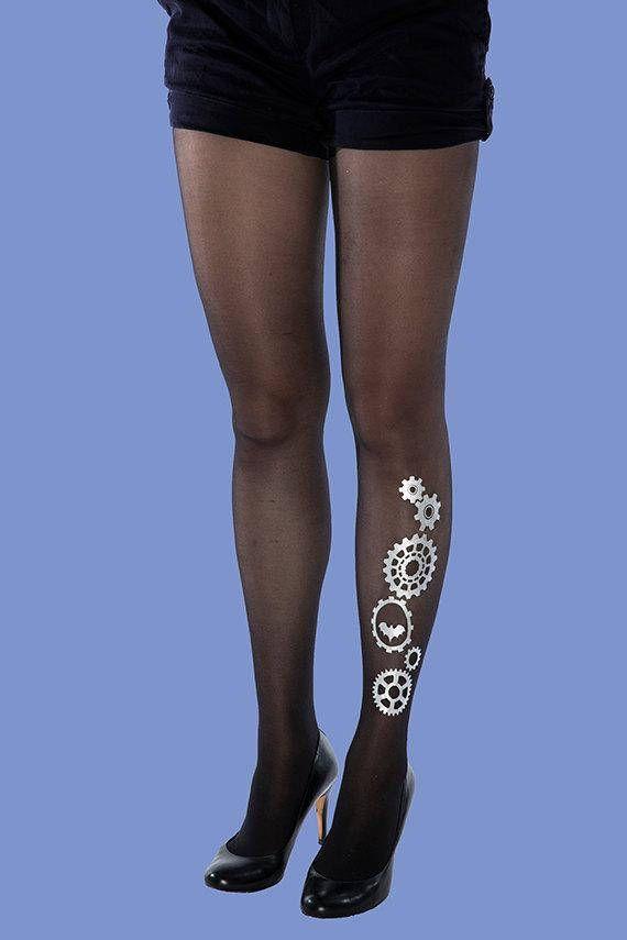 #Steampumk #silver #tattoo #tights #gift #ideas #sheer #black #women