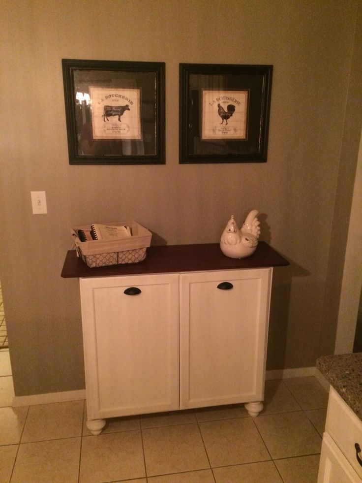 Double Trash Bin Cabinet Home Decor