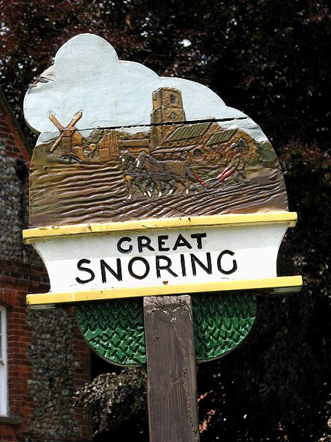 Great Snoring Village sign in Norfolk, England