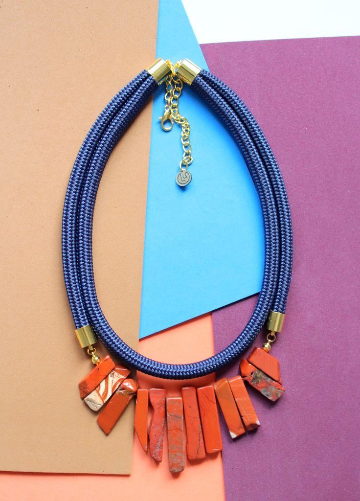 www.krisztinalango.com Statement necklace Gemstone necklace rope necklace Krisztina Lango jewelry ropedesign