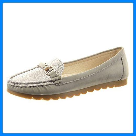 Sopily - damen Mode Schuhe Ballerina Schlangenhaut metallisch golden - Grau CAT-9-RS103 T 38 - Ballerinas für frauen (*Partner-Link)