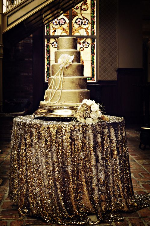 great gatsby wedding inspiration sequin tablecloth for the cake table
