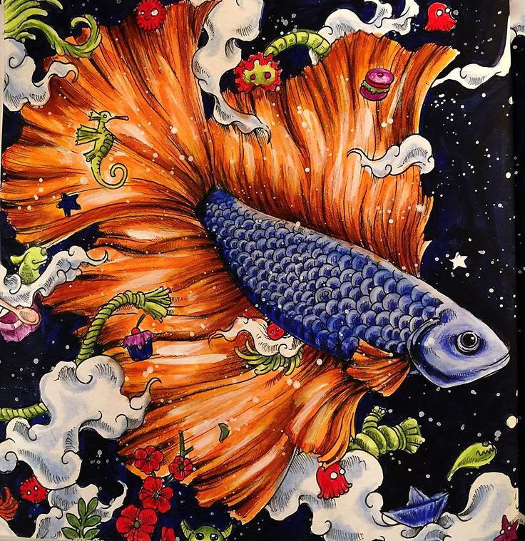 Left Side Page Animorphia Omarabooks Colorbook Prismacolor 10x10 Fish ArtAdult ColoringColoring BooksColouringDoodle