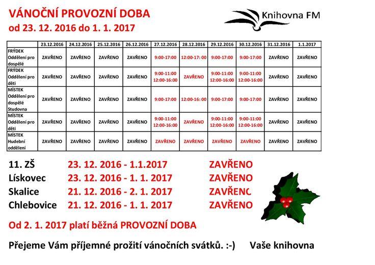 Upozorňujeme na změnu provozní doby v období od 23. 12 2016 do 1. 1. 2017.