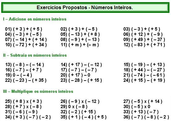 Números Inteiros - Matemática Muito Fácil - Álgebra