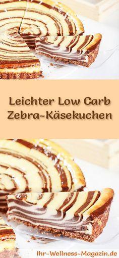 Rezept für einen leichten, saftigen Low Carb Zebra-Käsekuchen: Der kohlenhydratarme Kuchen wird ohne Zucker und Getreidemehl gebacken. Er ist kalorienreduziert, ...