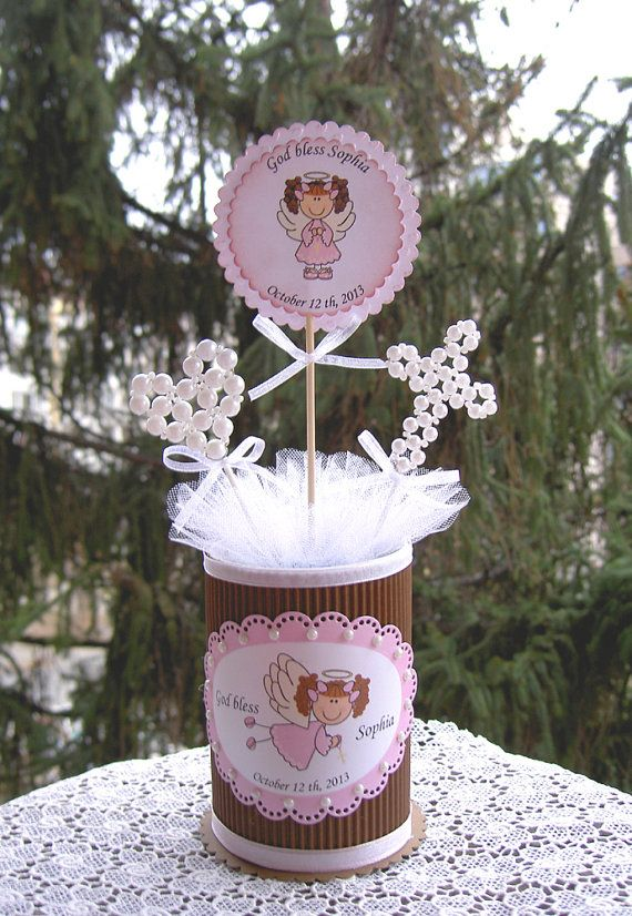 this really awesome Etsy listing at https://www.etsy.com/listing/181506401/baptism-centerpiece-baptism-girl