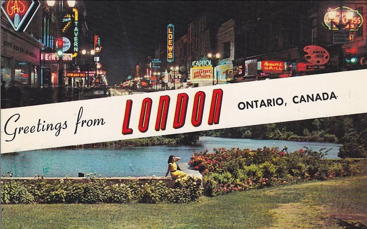 Greetings from London Ontario, Postcard 1950s
