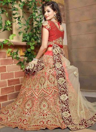 Beige Red Embroidery Resham Work Silk Net Designer Wedding Lehenga Choli http://www.angelnx.com/Lehenga-Choli/Wedding-Lehenga-Choli