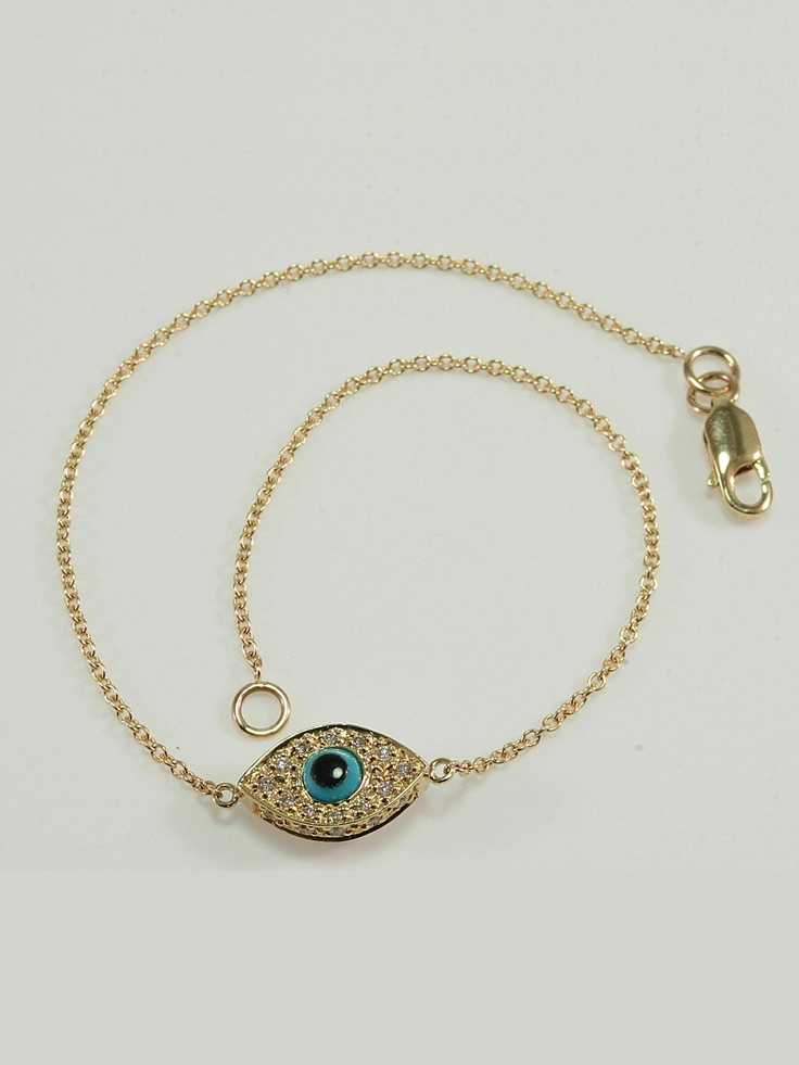 Sydney Evan 14KT Yellow Gold and Diamond Evil Eye Bracelet AS WORN BY KELLY RIPA every single day!! With Turquoise Evil Eye on Both Sides. Available at London Jewelers!