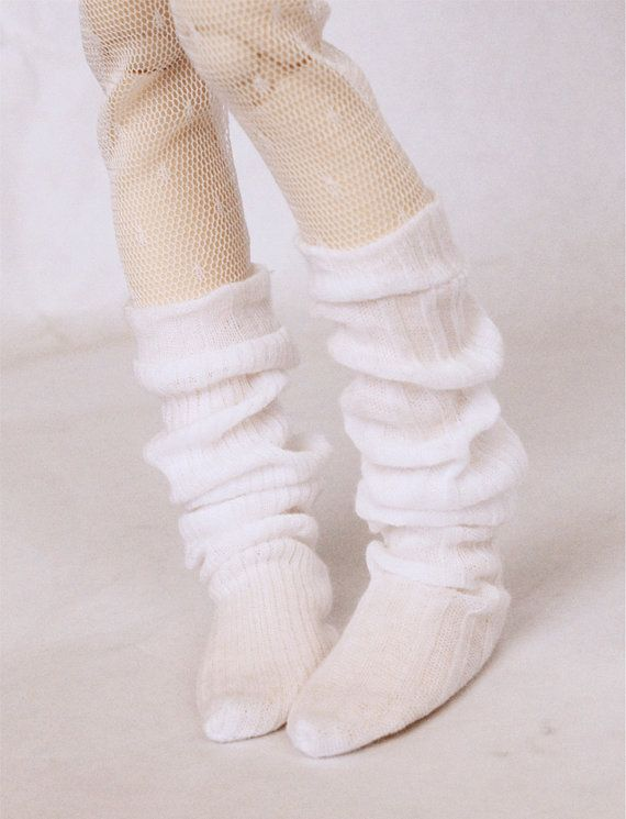 MSD BJD clothes Slouchy White thigh socks by MonstroDesigns