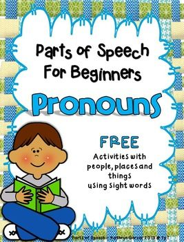 Parts of Speech for Beginners: Pronouns is a FREE stand-alone packet introducing simple pronouns to replace nouns depicted in pictures.  There are 3 activity pages and one page of word wall cards all in color and black & white.  If desired, this packet can also be combined with these other products in the  Parts of Speech for Beginners series: Parts of Speech for Beginners: NOUNS   Parts of Speech for Beginners: PRONOUNS Parts of Speech for Beginners: VERBS Parts of Speech for Beginners: ...