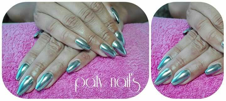 Chrome effect  #mirrornails #ballerina #patynailsviseu