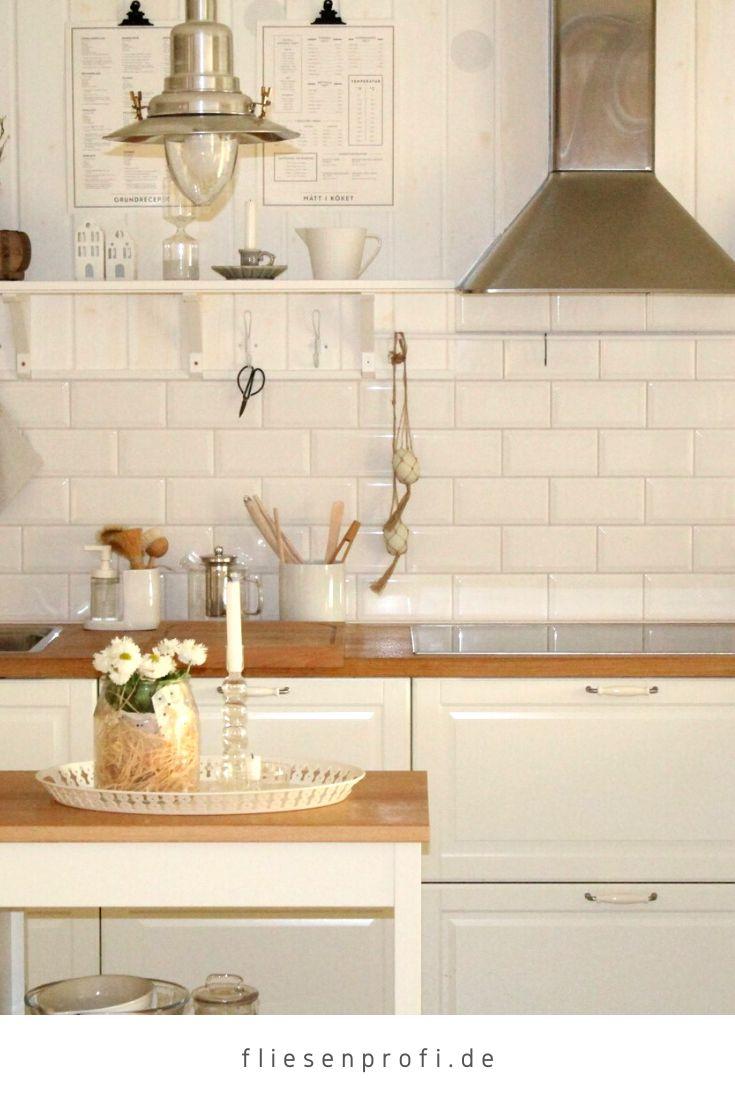 Metro Fliese weiß glänzend 10x20 Subway Wandfliese Küche