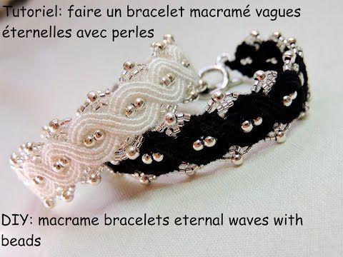 tutoriel bracelet macramé vague éternelle avec des perles (DIY bracelets eternal waves with beads) - YouTube