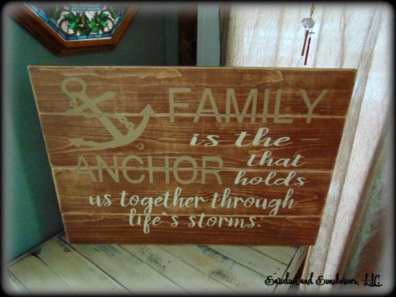 Wood plank sign, pallet sign,wood plank art,anchor sign,anchor decor,nautical theme,family sign,large wooden sign,rustic decor,wood word art Family is the anchor that holds us together through lifes storms . This beautiful, rustic sign is stained, hand painted and distressed to give a very rustic look and feel. It is stained a dark walnut color. No two are exactly alike. The lettering of this particular sign pictured has been painted antique white and country tan. This sign is plank/...