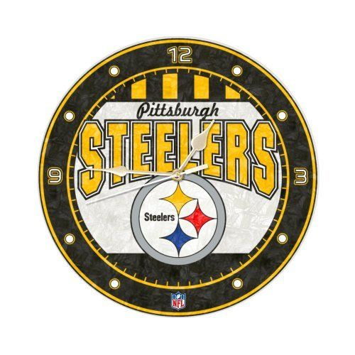 shop the official steelers pro shop for the officially licensed pittsburgh steelers arched logo art glass clock - Pittsburgh Steelers Merchandise