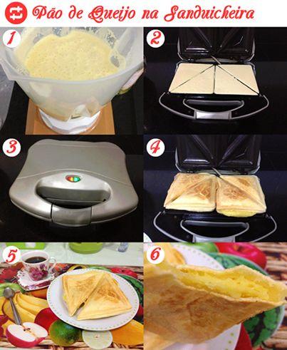 Pao de queijo de sanduicheira Bata no liquidificador 1 xíc de leite, 1 xíc de óleo e 3 ovos, depois acrescente 2 xíc de polvilho doce e a metade de um pacote de queijo ralado parmesão e sal a gosto. Bata até ficar homogêneo. Unte a sanduicheira com óleo, despeje a massa, preenchendo o desenho do sanduíche. Coloque um pouco de queijo sobre a massa líquida e feche a sanduicheira. Deixe assando por aproximadamente 5 min. Quando corar está pronto!