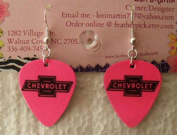 Hot pink CHEVY CHEVROLET bow tie symbol guitar pick earrings