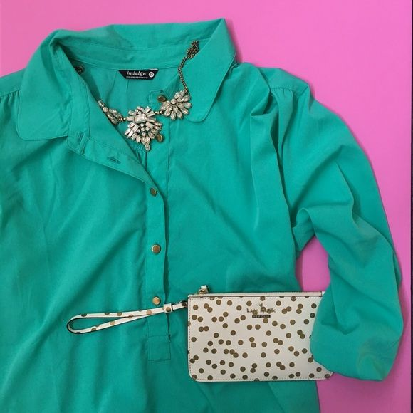 Turquoise Shirt Dress SZ XXL Turquoise shirt dress SZ XXL. Never worn! In great condition! Fits like a XL Dresses