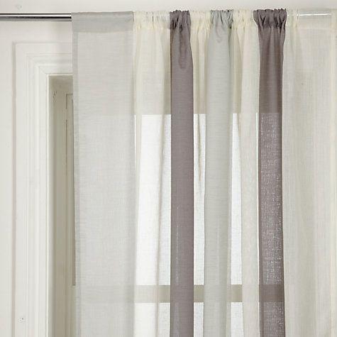 Master bedroom voile idea. John Lewis Metallic Broad Stripe Slot Top Voile Panel, Grey Online at johnlewis.com