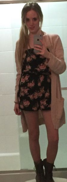 I ran out of mirrors. Full-length broke :D 2015. Black floral romper with tan Steve Madden lace-ups.and a beige cardigan shawl.