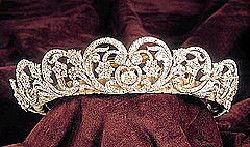 The Spencer Tiara  The tiara is entirely a composite with the central element being a gift from Lady Sarah Spencer to Cynthia, Viscountess Althorp as a wedding present in 1919.   It was later remounted. Four other elements were made to match it in 1937. Only the two elements at the end are old and are said to have come from a tiara owned by Francis, Viscountess Montagu and left to Lady Sarah Spencer in 1875.