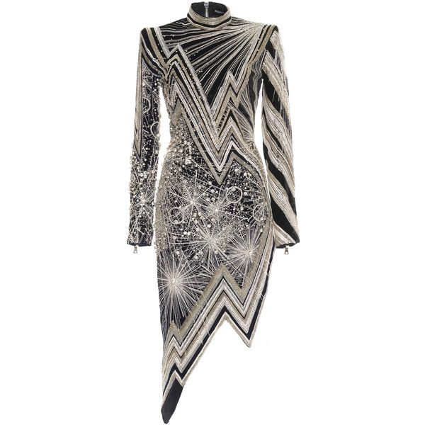 Moda Operandi ($26,500) ❤ liked on Polyvore featuring dresses, asymmetrical dresses, asymmetrical hem dresses, embelished dress, zig zag dresses and embellished dress