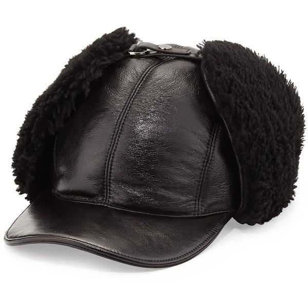 Prada Leather and Shearling Trapper Baseball Cap (685 CAD) ❤ liked on Polyvore featuring men's fashion, men's accessories, men's hats, black, men's accessories hats, mens hats, mens baseball hats, mens leather hats and mens baseball caps