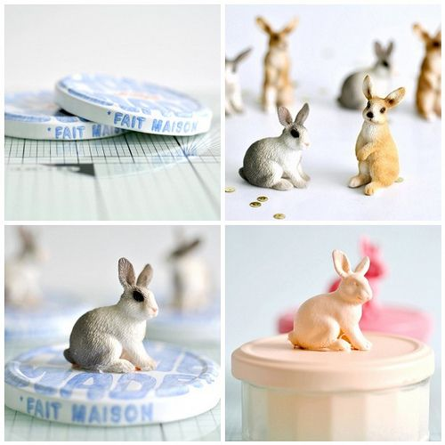 Plastic rabbits used as cute decoration for  jars with Easter candy. Photo and how-to from http://toriejayne.blogspot.com/