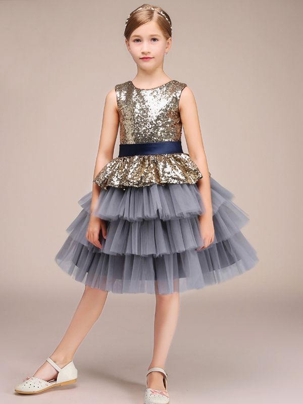 Girls Glitters Sequined Bodice Layered Tulle Princess Prom Hosts Dress d76194e4f192