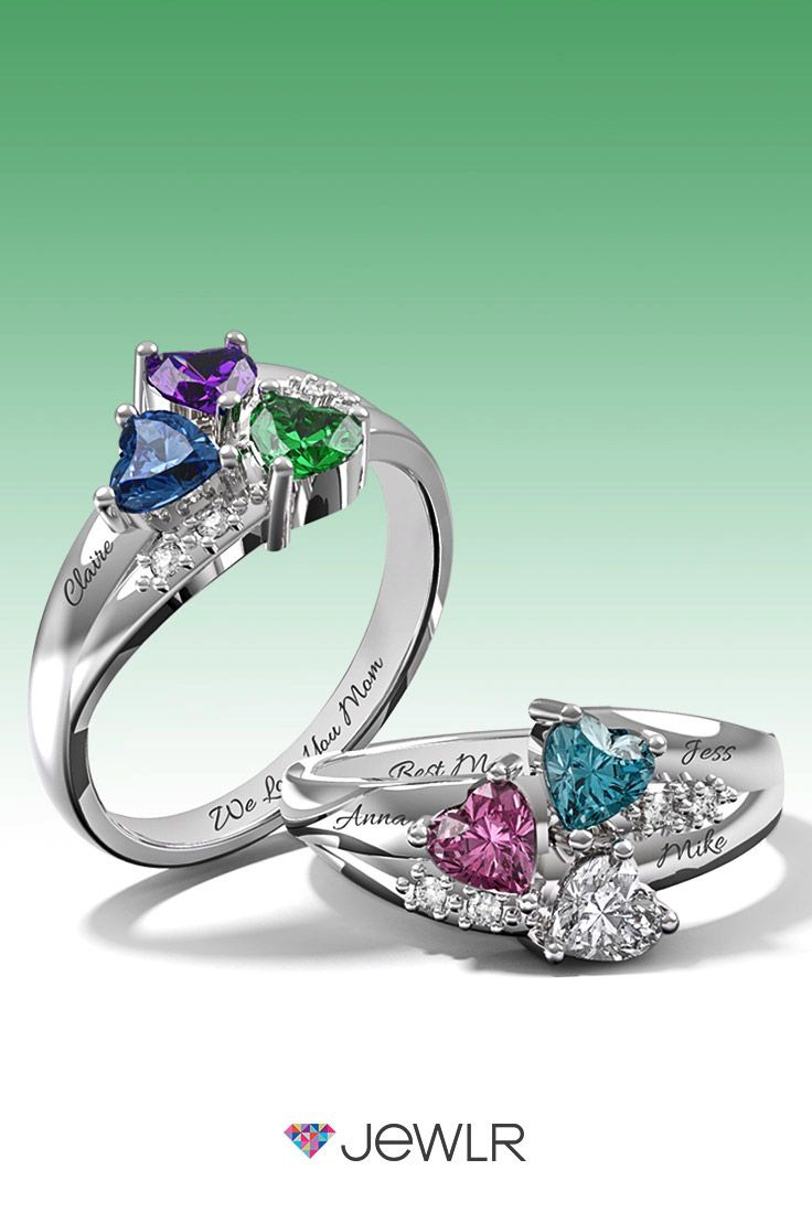 Personalize the perfect promise ring in silver, white, yellow or rose gold with sparkling heart birthstones to represent your loved ones. Add a custom engraving for an extra special touch. With free shipping, free resizing. free gift packaging and a  bonus gift, Jewlr is the perfect place to design your dream ring.
