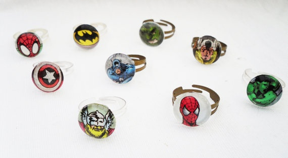 Comic book superhero rings