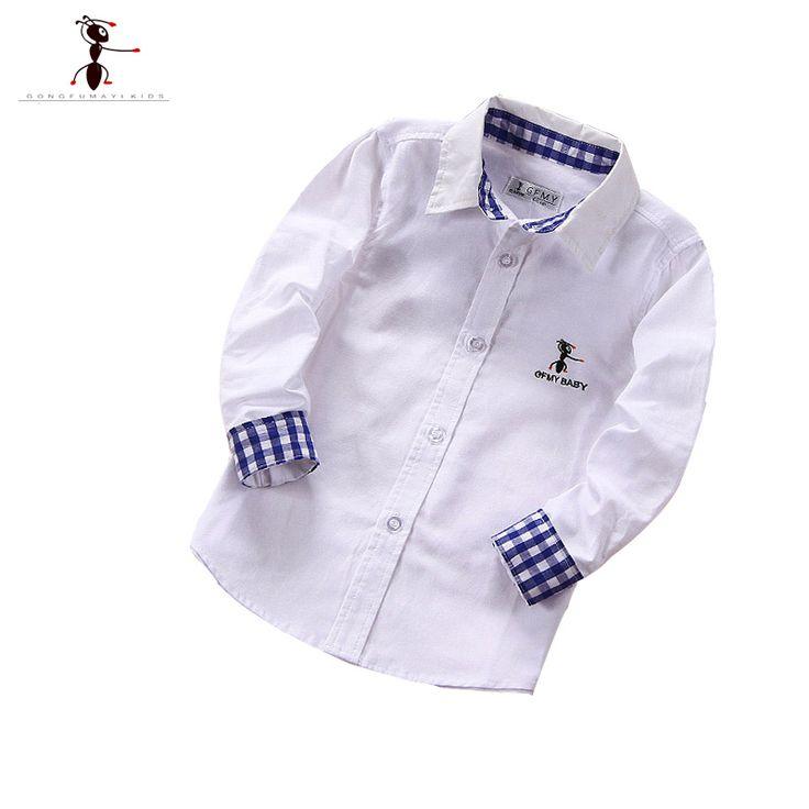 Casual Boys Shirts Famous Brand GFMY Turn-down Collar Children Boys Shirts Camisa Infantil Blouse 1008