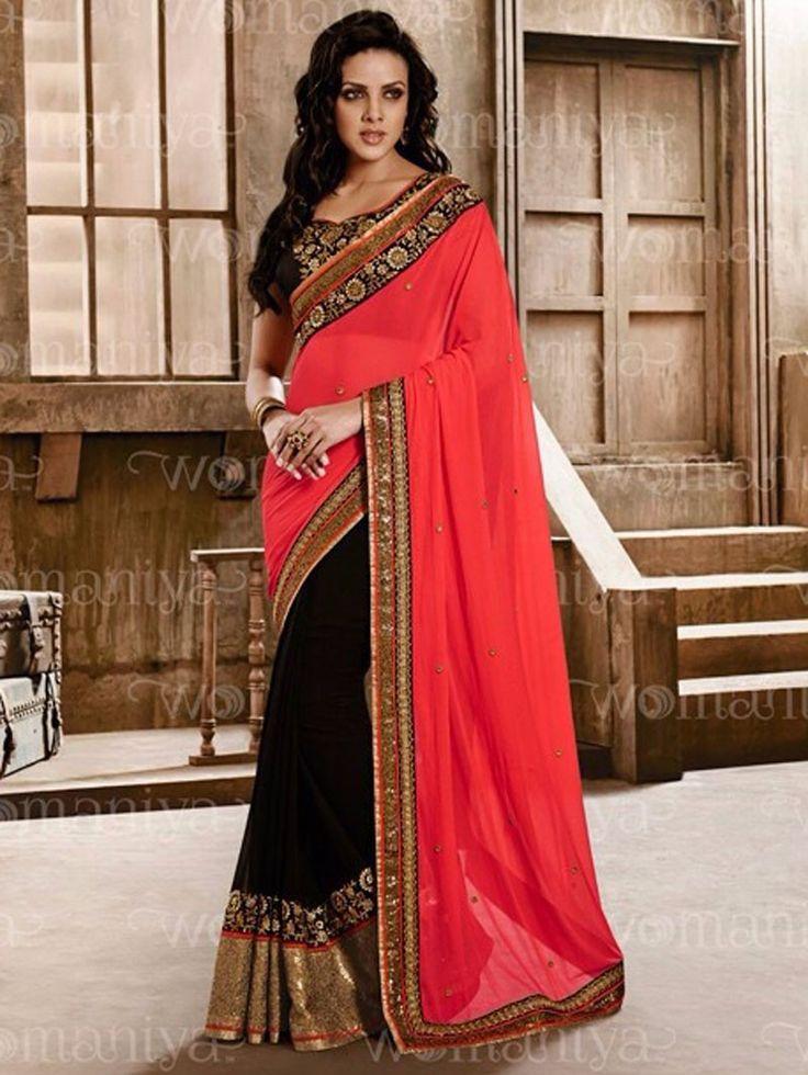 Black with Orange Color Embroidered Womaniya Saree