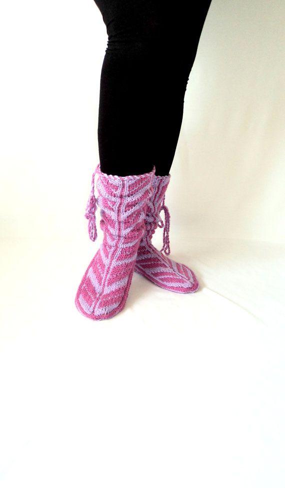 Wool Slippers, Handmade Slippers, Mukluk, Lilac Slippers, Leg Warmers, Knitt…