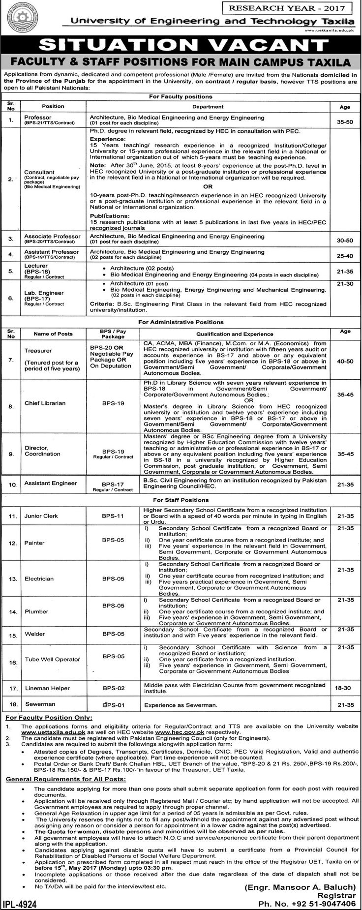 new jobs in University Of Engineering And Technology Uet 28 april 2017