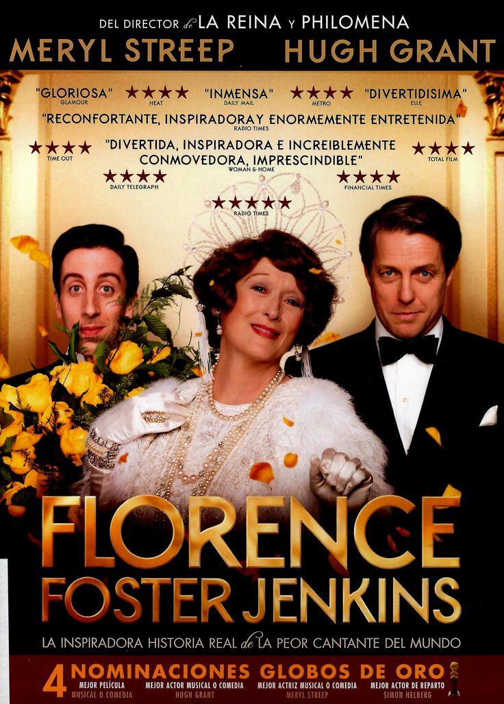 """FLORENCE FOSTER JENKINS. Ambientada en Nueva York en 1940, cuenta la historia real de la legendaria heredera neoyorquina de la alta sociedad, que obsesivamente persiguió su sueño de convertirse en una gran cantante de ópera. Ella pensaba que su voz era hermosa, para todos los demás era hilarantemente horrible. Su """"marido"""" y manager, un  aristocrático actor inglés decidido a proteger a su amada de la verdad, tiene que enfrentarse a su mayor desafío cuando Florence decide dar un concierto…"""