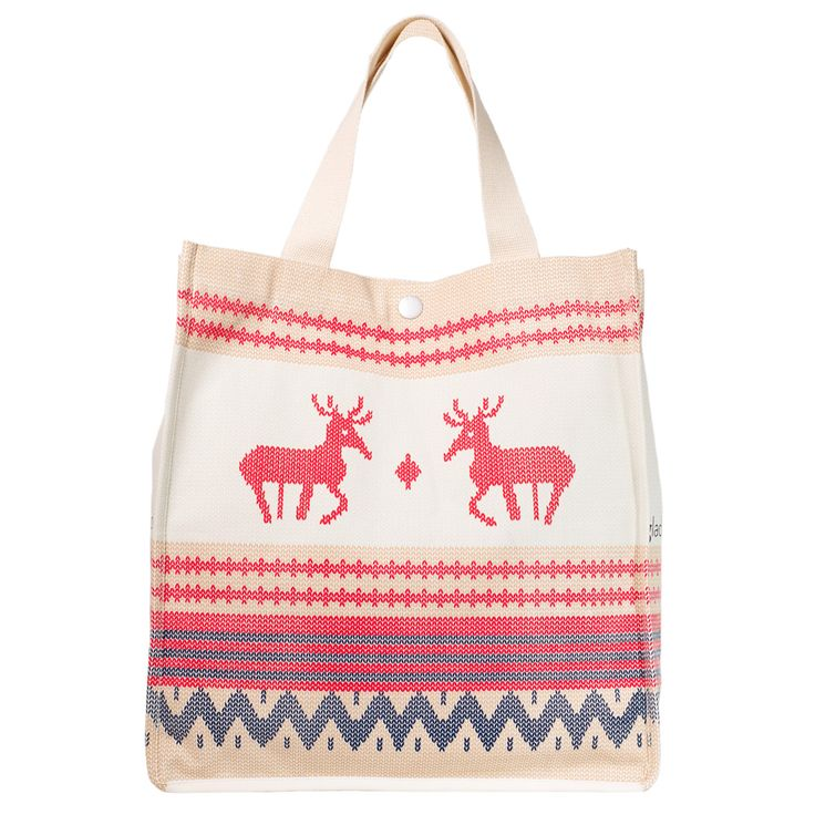 Christmas Bag that isn't kitsch ! Yes it is possible ! Red and beige and navy knit deer Xmas bag, perfect stylish kris kringle !
